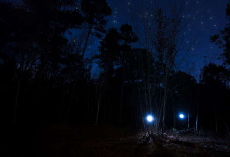Pair of headlamps coming out of a dark forest with stars above Stock Photo