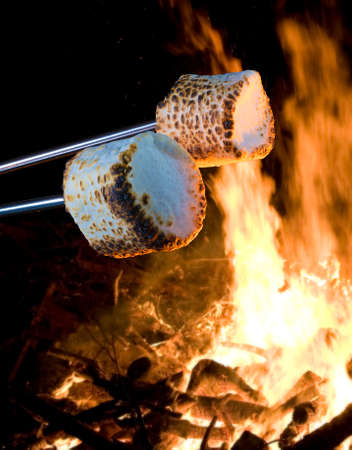 Marshmallows being cooked over an open campfire to make smores