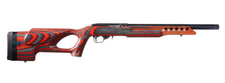 Rimfire rifle with a red thumbhole stock on a white background Foto de archivo - 109911750