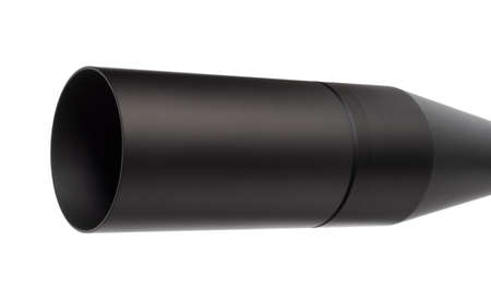 Lens shade on a long sniper scope isolated on white