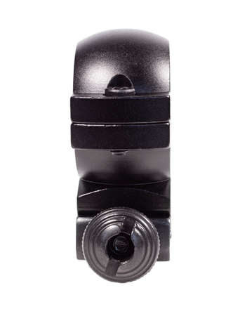 Side view of a sniper scope ring isolated on a white background