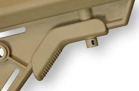 Paddle on an AR-15 stock used to adjust its length