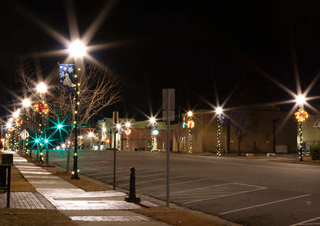 Main Street in Raeford North Carolina decorated for the holidays