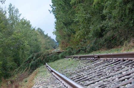 Blocked railroad tracks after Hurricane Florence hit near Fayetteville North Carolina 版權商用圖片