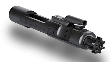 Bolt carrier group at an angle with dropshadow below