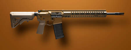 Assault rifle on a tan background with a drop shadow below
