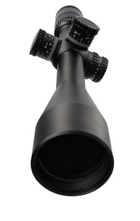 High power rifle scope isolated with a white background