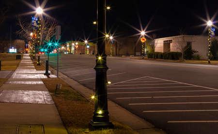 Christmas lights decorate Raeford North Carolina on Main Street 版權商用圖片