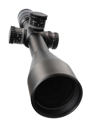 High powered rifle scope isolated on a white background