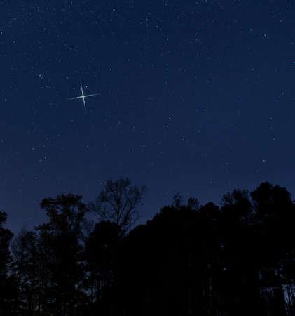 Bright star on Christmas eve near Raeford North Carolina Archivio Fotografico - 136163412