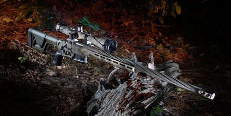 High powered rifle and riflescope at dusk in a forest Archivio Fotografico - 136163491