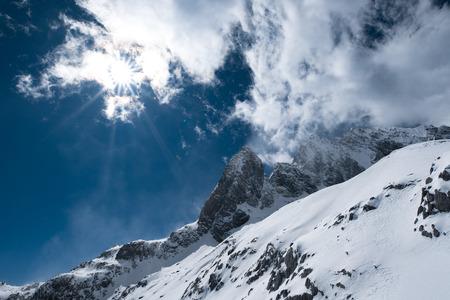 speculative: winter at Lijiang Yunnan, Jade Dragon Snow Mountain Stock Photo