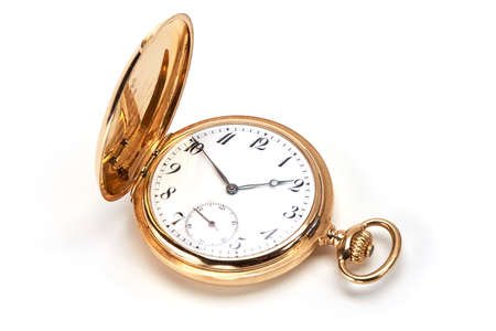 cronógrafo: luxury gold watch swiss made on white background