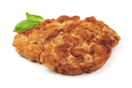 Viener schnitzel. Breaded chop, isolated on white background. 版權商用圖片