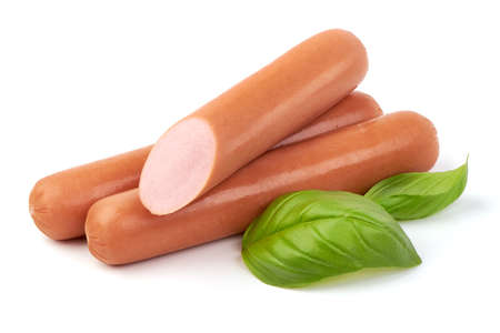 Fresh boiled sausages with basil, isolated on white background.
