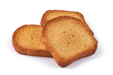 Roasted toast bread, isolated on white background.