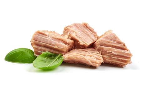 Stew Meat with basil leaves, isolated on white background.
