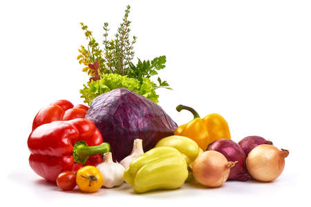 Set of different fresh raw colorful vegetables, isolated on white background