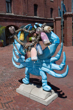 fells: Baltimore, MD, USA - July 26, 2011: A large blue crab sculpture on display at Fells Point in Baltimore.