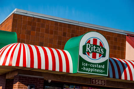 Lancaster, PA, USA - February 19, 2017:  Ritas Italian Ice is a chain with over 600 locations, based in Trevose, PA, which sells water ice and frozen custard.