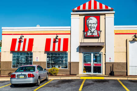 Lancaster, PA, USA - February 19, 2017: A KFC Restaurant, previously known as Kentucky Fried Chicken, is an American fast food chain with over 20,000 locations that specializes in fried chicken.
