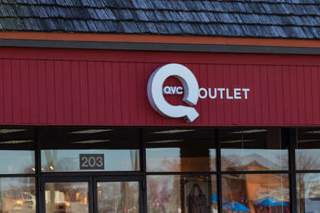 Lancaster, PA, USA - February 27, 2018: QVC, the American cable, satellite and broadcast television network and shopping channel operates a retail outlet store.