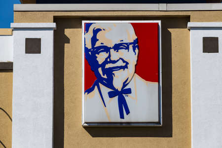 Lancaster, PA, USA - February 27, 2018: A KFC Restaurant sign, previously known as Kentucky Fried Chicken, is an American fast food chain with over 20,000 locations that specializes in fried chicken.