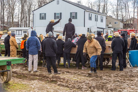 Bart, PA, USA - March 3, 2018: The annual Mud Sale at the Bart Fire Company attracts a large crowd in search of late winter bargains.