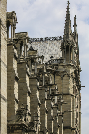 Vertical rythmic view on stone chimeras on Notre Dame of Paris, France