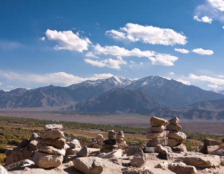 Stones in the montains and indus river valley, Ladakh, India.