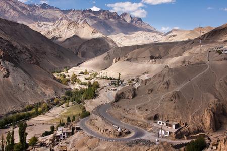 horisontal: Serpantine himalaya road near Lamayuru monastery, Ladakh, India. Horisontal view.