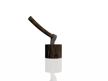 Ax stuck on a stump on a white background
