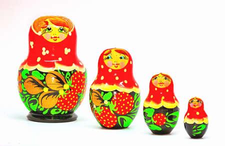 matryoshkas: Strawberrie Matryoshka, Russian dolls on white background