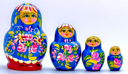 russian dolls: Blue Matryoshka, Russian dolls on white Background