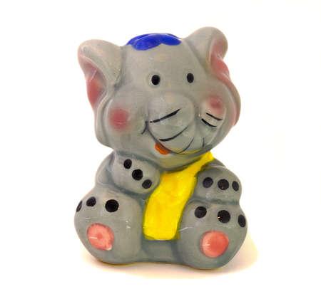 animal figurines: BlueHat Elephant on white Background