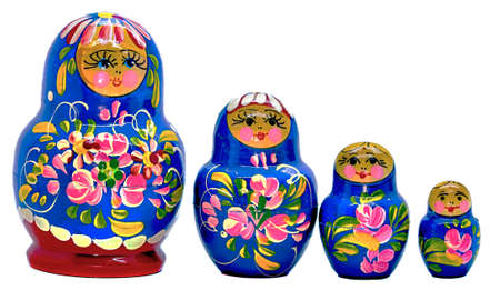 Blue Matryoshka, Russian dolls on white Background