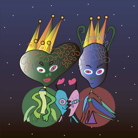 royal family: The Space Royal Family - Vector illustration