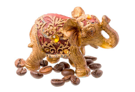 Golden Elephant Statue with Cofee Beans
