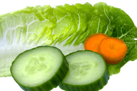 Salad Leaf with Cucumber and Carrots on white Background