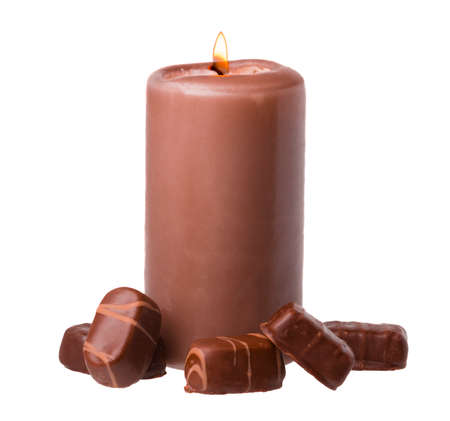 Chocolate Scented Candle with Chocolate Candies on white Background