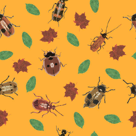 Beetles and Leaves on an orange background - JPEG Seamless Pattern