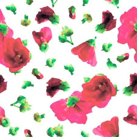 Pink Hollyhocks Seamless Pattern