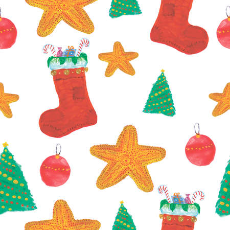 Seamless Christmas Watercolor Pattern with Sock, Candy, Christmas Tree, Star, Ball
