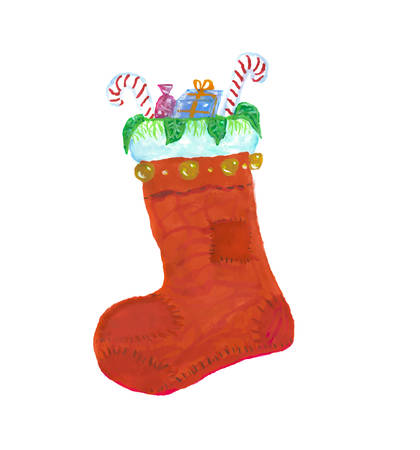 Illustration de chaussette aquarelle Noël rouge. Banque d'images - 89279286