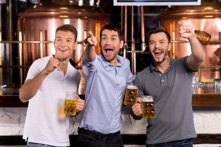 bar: Goal! Three happy men holding beer mugs and gesturing while watching TV in bar  Stock Photo