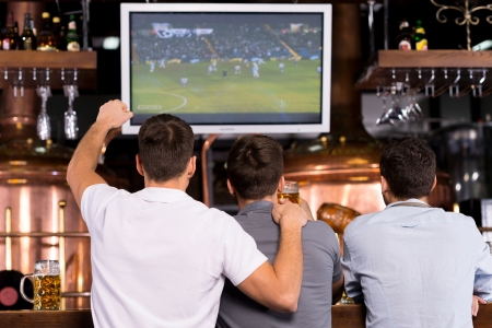 soccer match: Watching a soccer match. Rear view of three happy men watching a soccer match and gesturing while sitting in bar Stock Photo