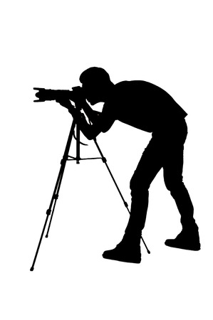 Photographer shooting. Side view silhouette of man using tripod while shooting and standing isolated on white photo