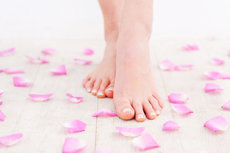 Clean and fresh feet. Cropped image of beautiful female feet on hardwood floor photo