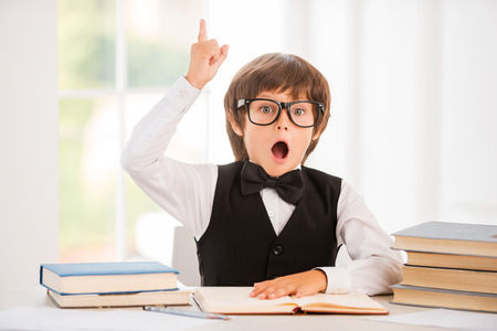 Bingo! Happy little boy holding book and gesturing while sitting at the table photo