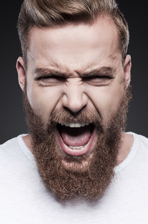 unleashed: Unleashed emotions. Portrait of furious young bearded man shouting while standing against grey background